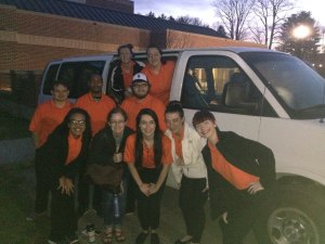 Students at West Virginia Wesleyan University take off on their tour of